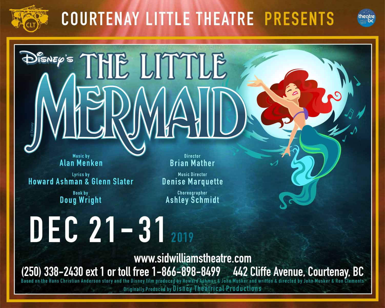"CLT presents ""Disney\'s The Little Mermaid\"" LIVE ONSTAGE Dec 21st - 31st"