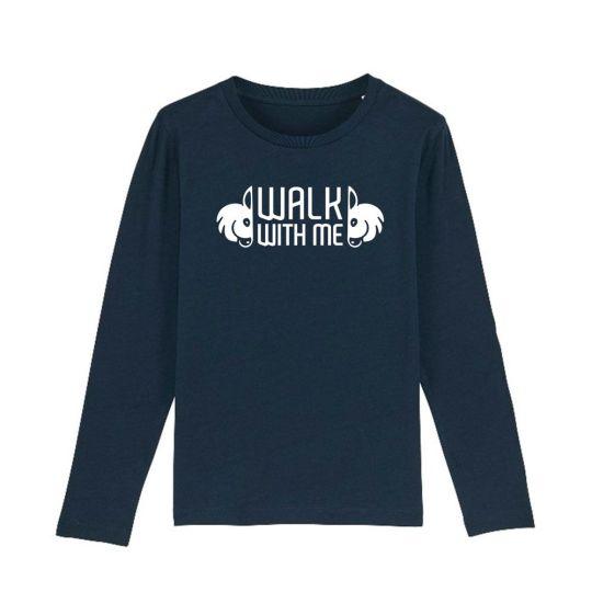 "T-shirt bambini manica lunga ""Walk With Me"" Blu navy"