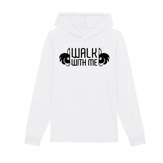 "T-shirt manica lunga con cappuccio uomo ""Walk With Me"" bianca"