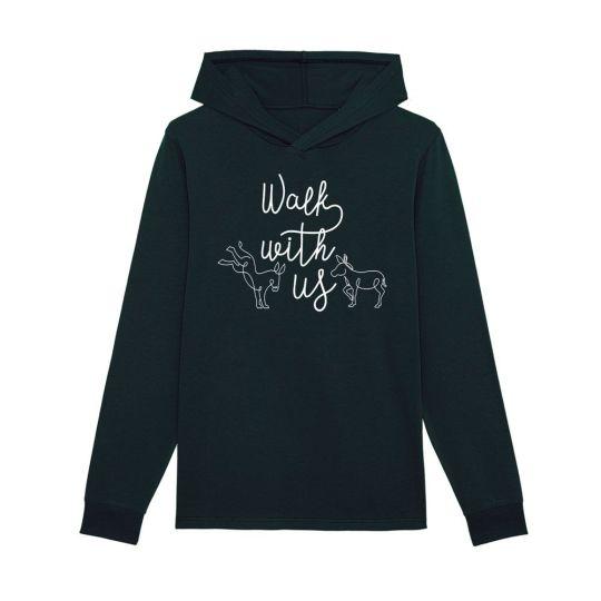 """T-shirt manica lunga con cappuccio uomo """"Walk With Us"""" nera"""