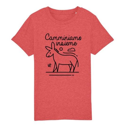 """T-shirt bambini manica corta """"Camminiamo Insieme"""" rosso mattone"""