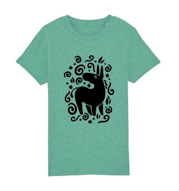 "T-shirt bambini manica corta ""Magic Donkey"" verde menta"