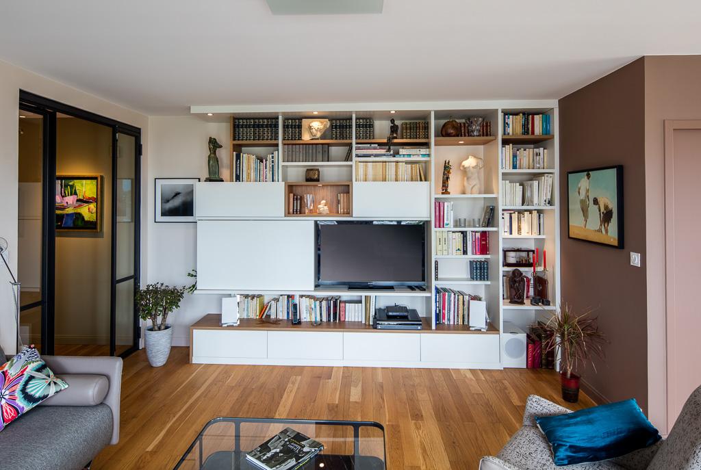 meuble tv et bibliotheque asymetrique