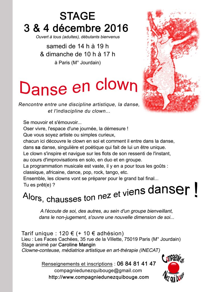 Stage Danse en clown - décembre 2016