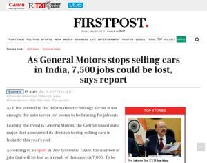 As General Motors stops selling cars in India, 7500 jobs ...