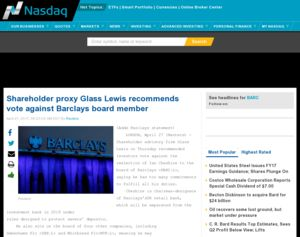 Barclays - Shareholder proxy Glass Lewis recommends vote ...
