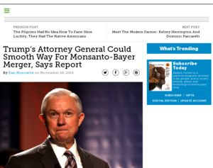 Monsanto - Trump's Attorney General Could Smooth Way For ...