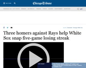 Chicago Tribune - Three homers against Rays help White Sox ...