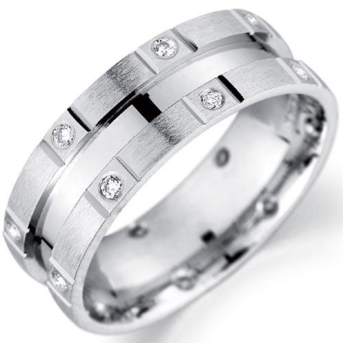 6mm Diamond Set Matt and Polished Finish Wedding Band In 9 Carat White
