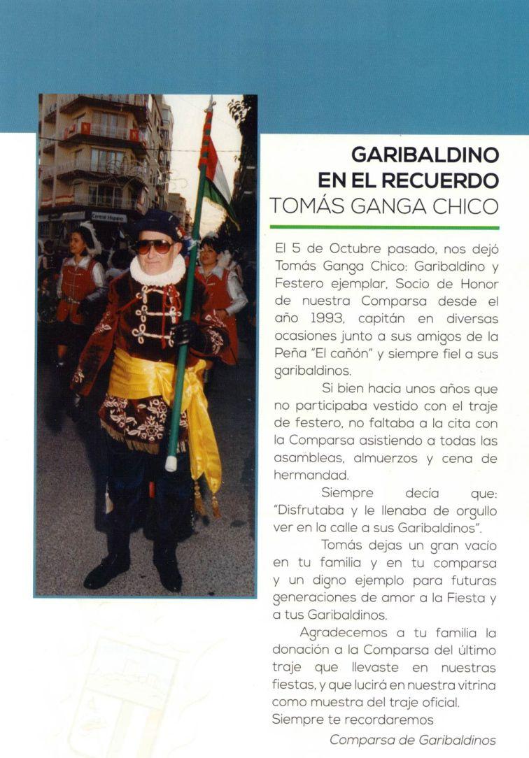 Comparsa garibaldinos revista de fiestas 2016 Sax, Alicante,