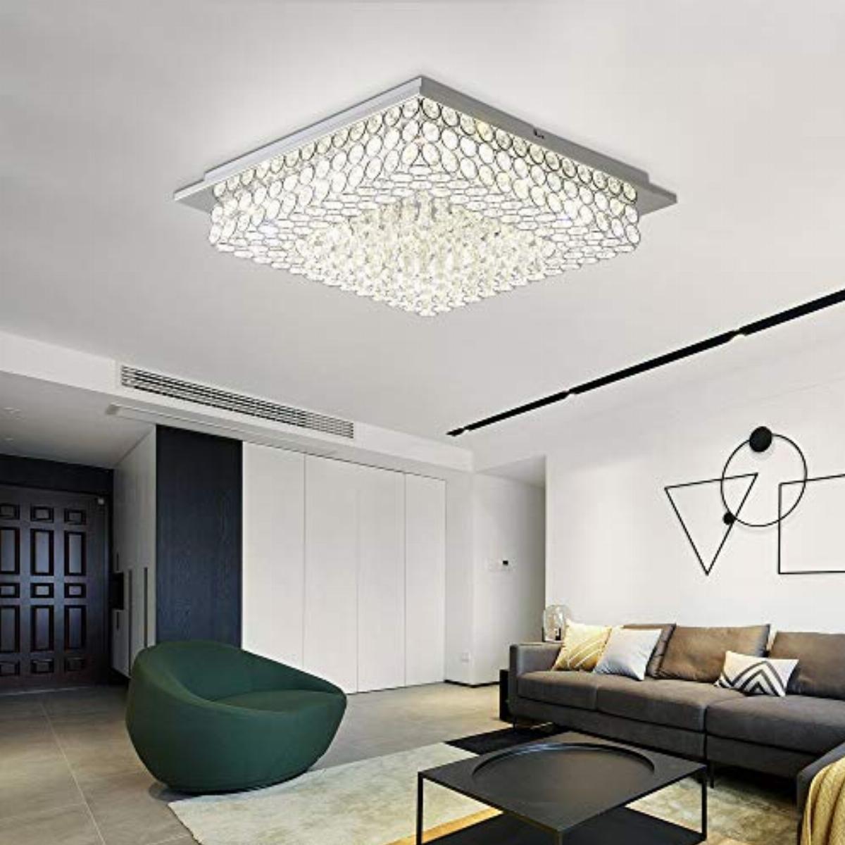 horisun crystal chandelier led ceiling light fixture 4000k dimmable flush mount lighting square pendant lamp for dining room bathroom bedroom