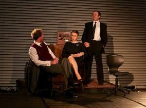 "Photo by Simon Vail. Heisenberg, Margarethe and Niels Bohr in ElevenOne Theatre's ""Copenhagen"""