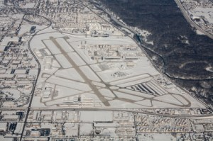 Aerial view of Winter in Chicago Metro Area