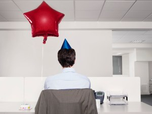Man Having Birthday at Work