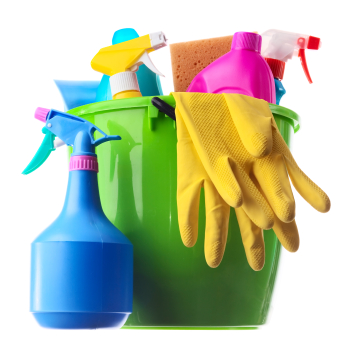 Cleaning supplies in a green bucket