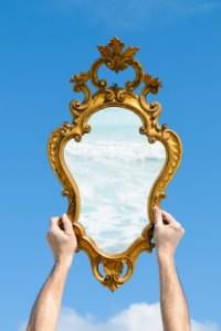 mirror held up