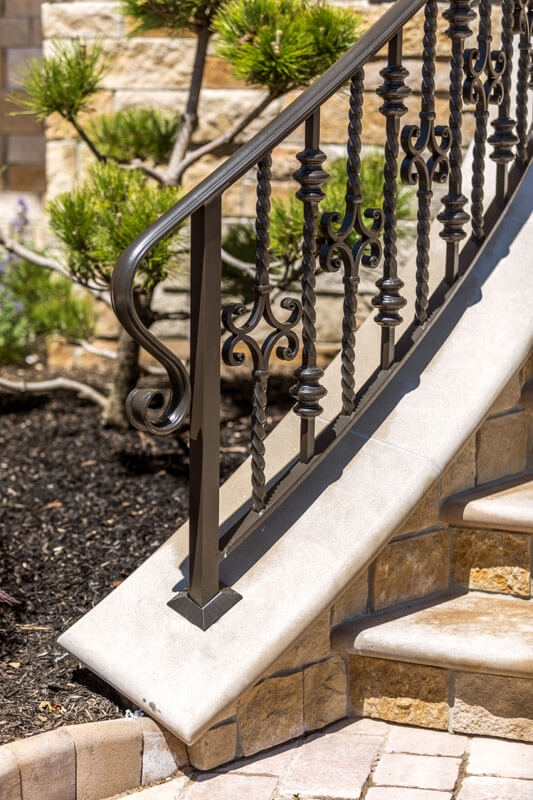 Exterior Railings Compass Iron Works | Aluminum Railings For Steps | Porch | Wood Wall Mounted Stair | Solid Wood | Custom Treated | Modern