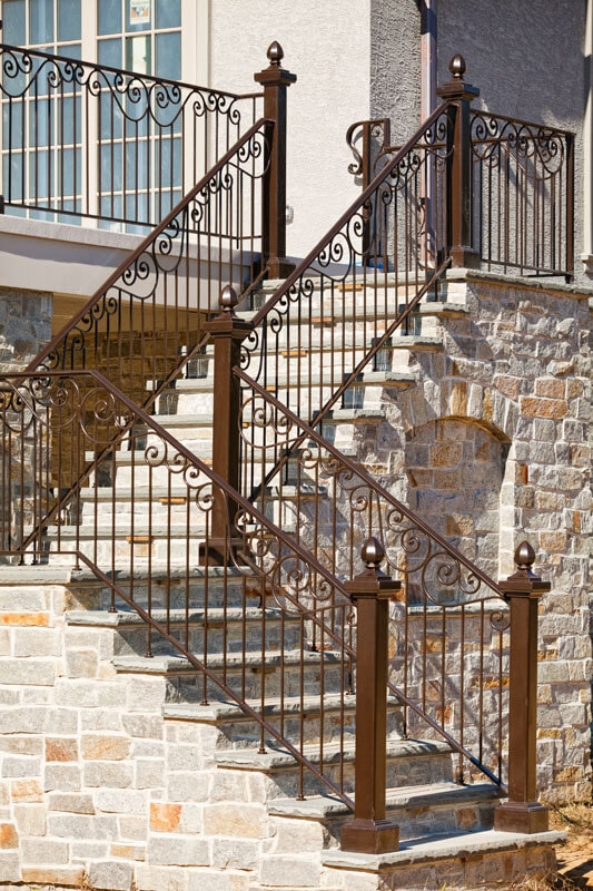 Exterior Railings Compass Iron Works | Aluminum Outdoor Stair Railing | 2 Step | Pressure Treated Deck Black | Commercial | Modern | Front Entrance