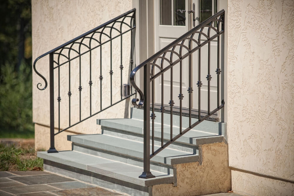 Exterior Railings Compass Iron Works | Exterior Iron Stair Railing | Temporary | Front Step | Aluminum | Front Entrance | Fancy