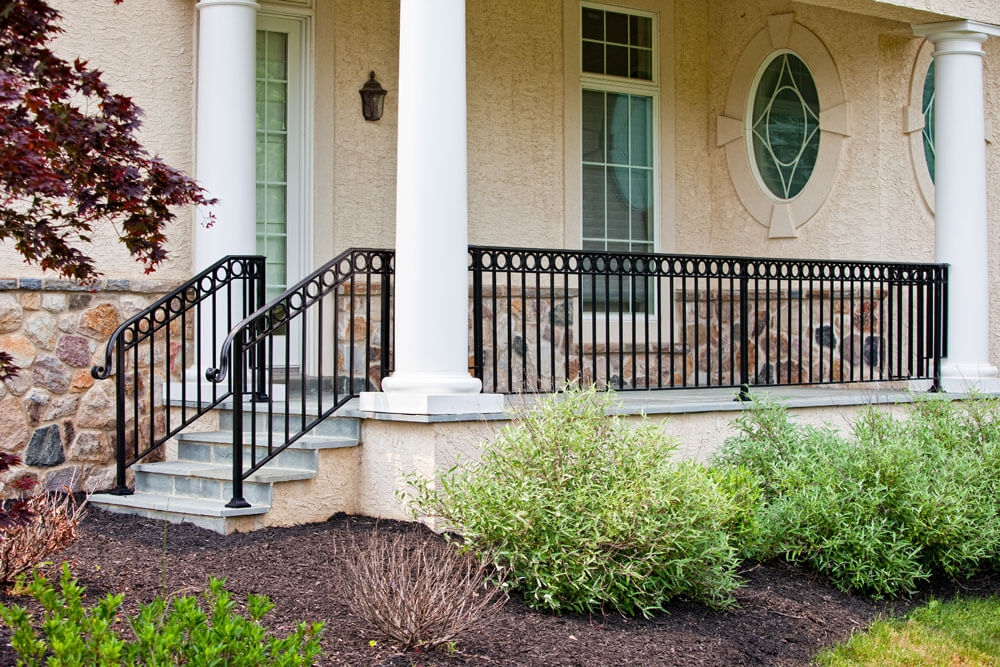 Exterior Railings Compass Iron Works | Outdoor Front Step Railings | Metal | Deck | Brick | Capozzoli Stairworks | Wood