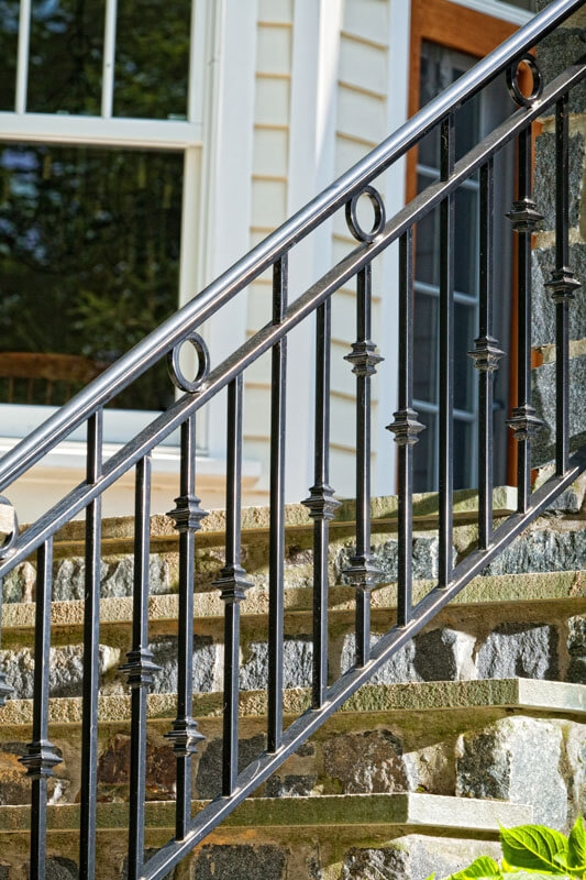 Exterior Railings Compass Iron Works | Metal Railing Designs Stairs | Front Porch Stair Railing | Banister | Residential | Caramel | Rustic