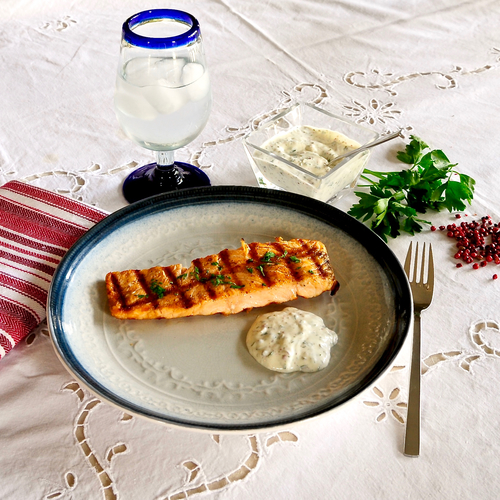 Grilled Salmon with Pink Peppercorn Tartar Sauce ...