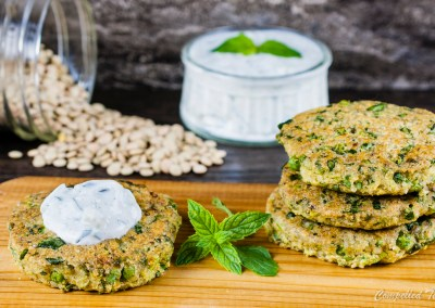 Lentil Cakes with Cucumber Raita