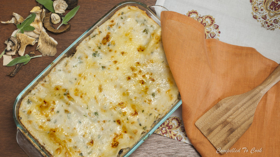 Mushroom Lasagna is meat free but hearty with mushrooms and cheese.