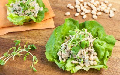 Zesty White Bean and Tuna Lettuce Wraps