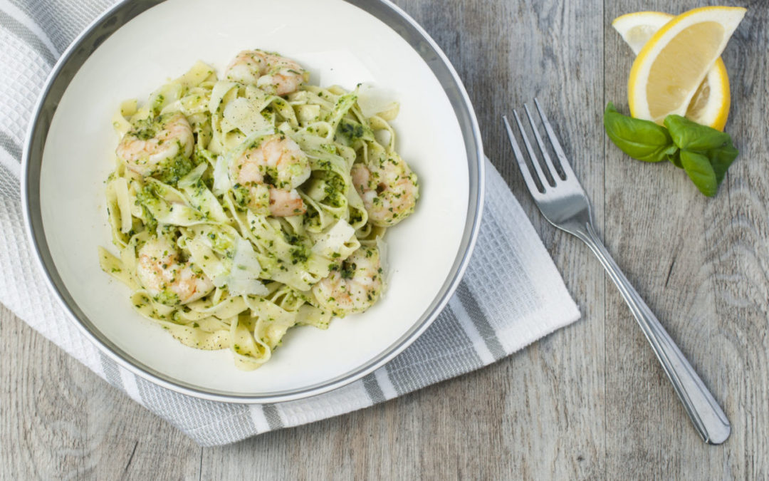 Shrimp and Pesto Pasta is a classic combination highlighting fresh pesto and homemade fettuccini noodles.