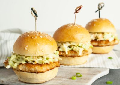 Crispy Chicken Sliders with Wasabi Slaw