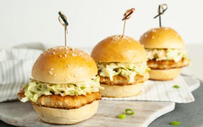 Crispy Chicken Sliders with Wasabi Slaw