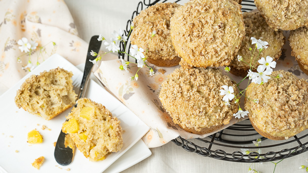 Whole Wheat Peach Streusel Muffins