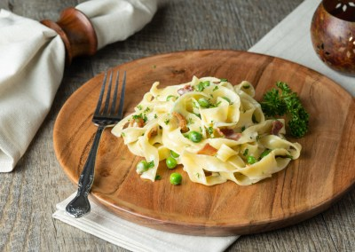 Pappardelle with Peas and Bacon