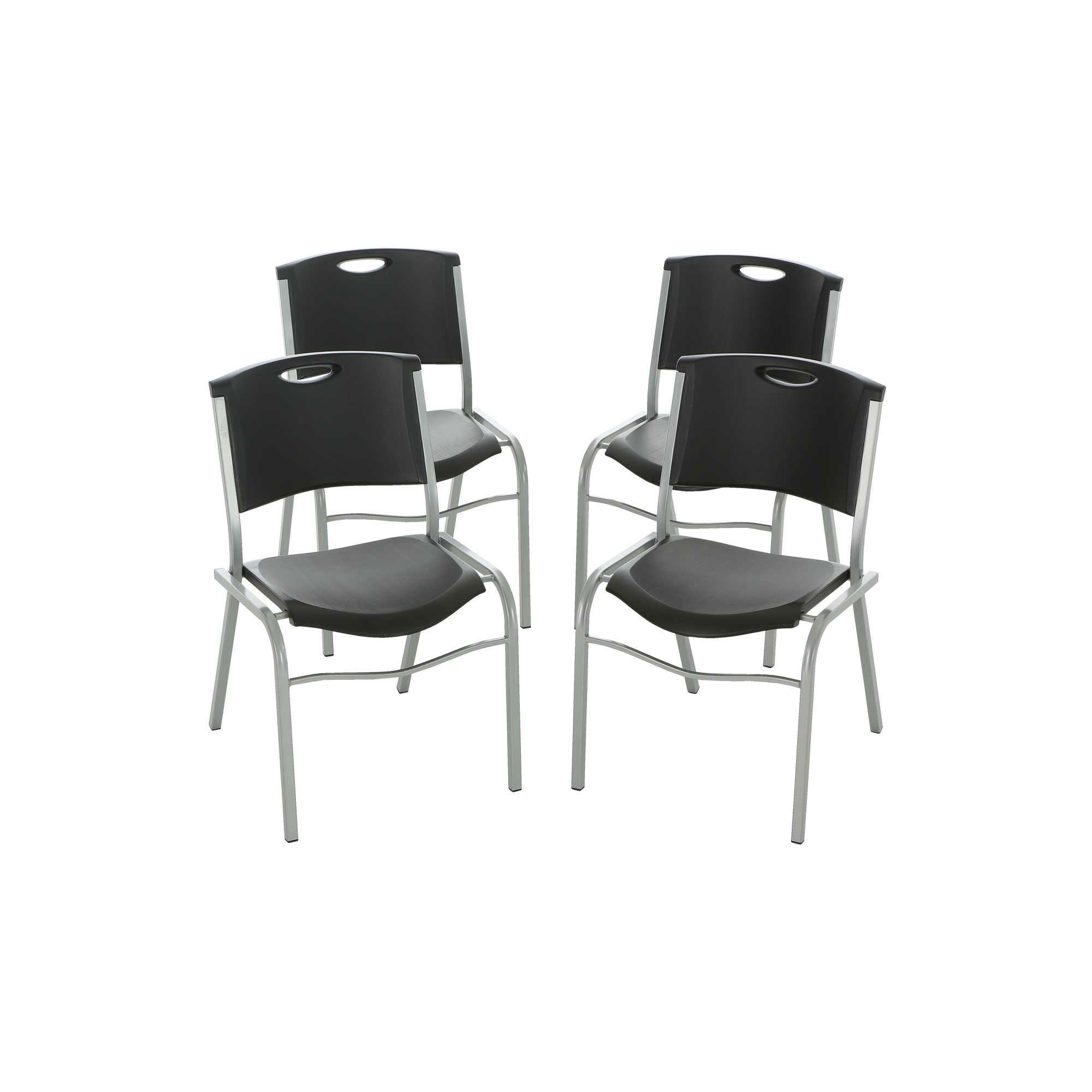Lifetime Stacking Chairs 42830 Black Stackable Chairs 4 Pack