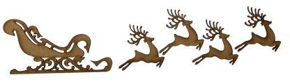 Sleigh and reindeer plain mdf