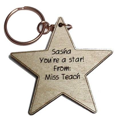 small wooden star keyring