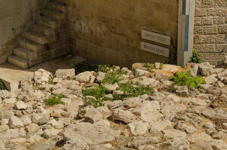 Nivel original de una calle en ruinas, Ciudad Vieja de Jerusalén.