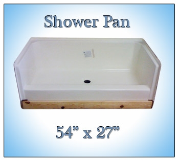 54x27 Fiberglass Replacement Shower Pan