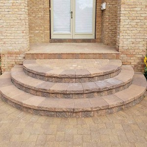 custom paver steps with porch