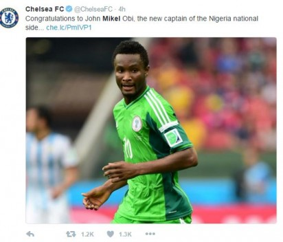 Chelsea Salute Mikel On Super Eagles Captaincy