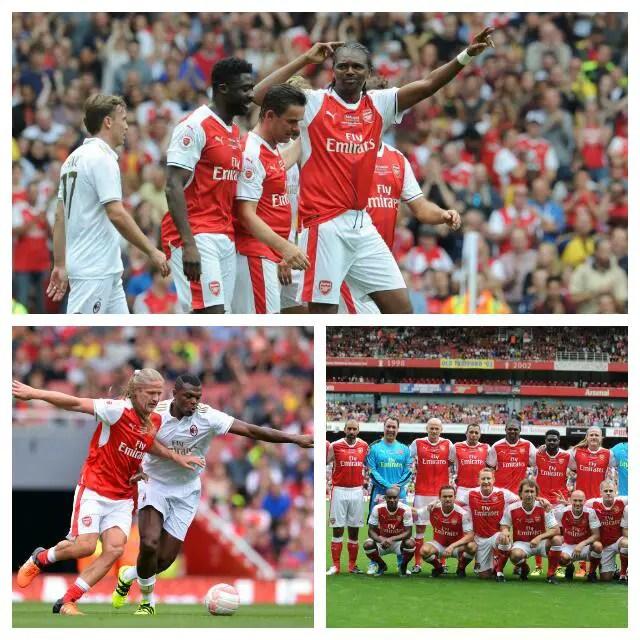 Kanu Grabs Hat-trick As Arsenal Legends Outscore Milan Legends