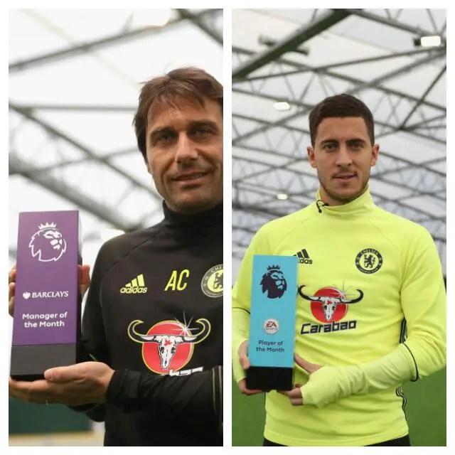 Conte, Hazard Win EPL October Best Coach, Player Awards