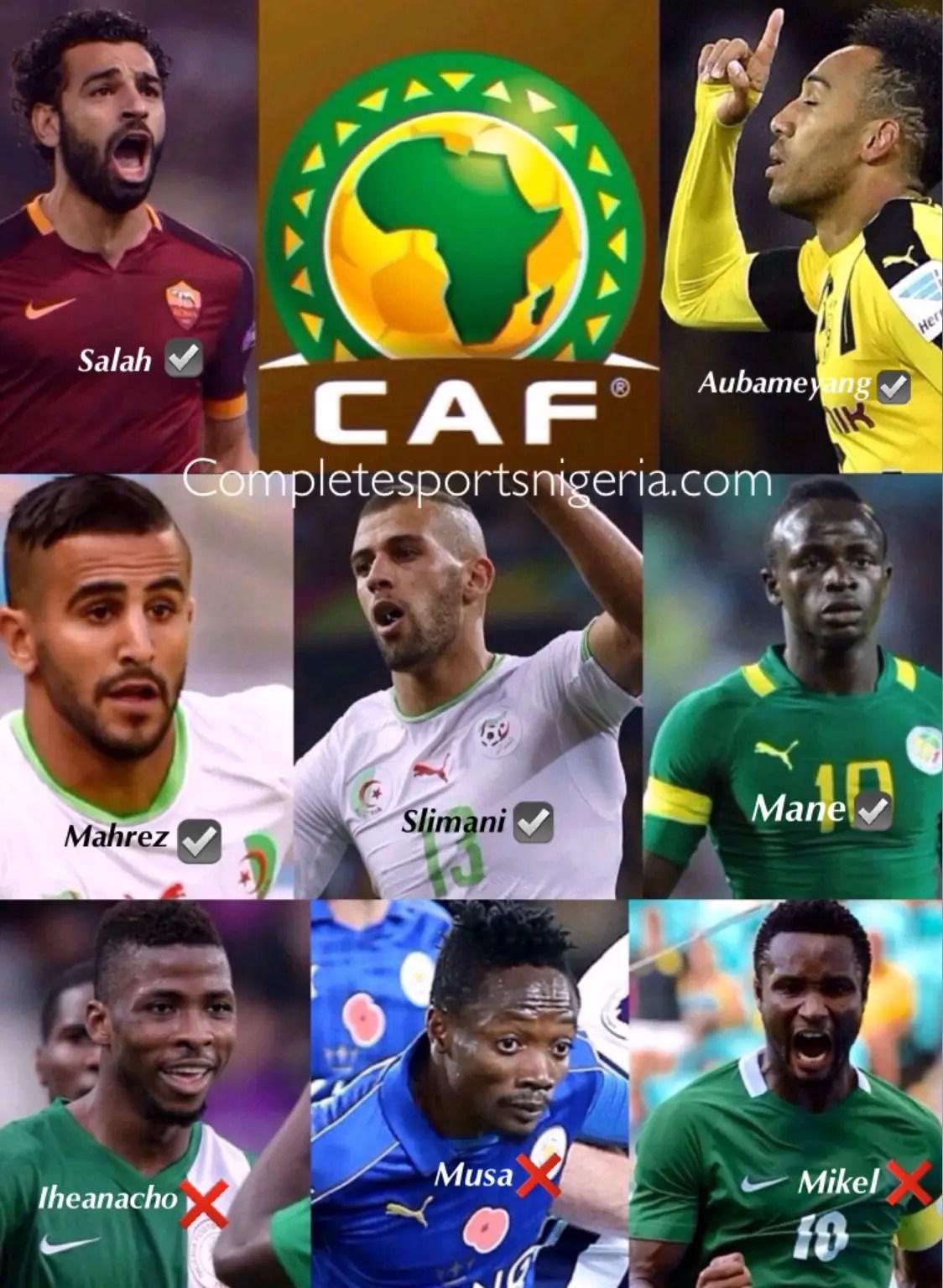 Slimani, Mahrez, Aubameyang, Mane Up For Glo-CAF Award; Mikel, Musa Snubbed