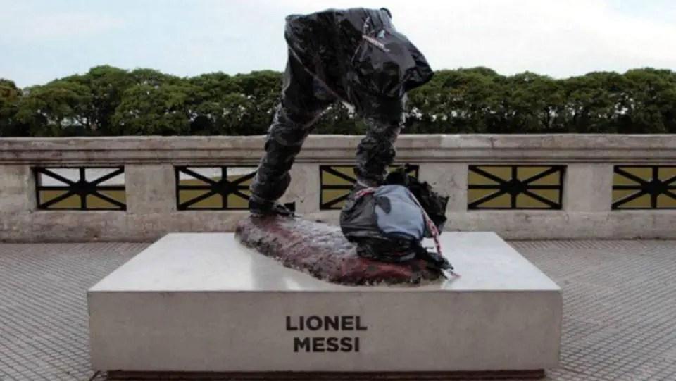Lionel Messi Statue Destroyed In Argentina