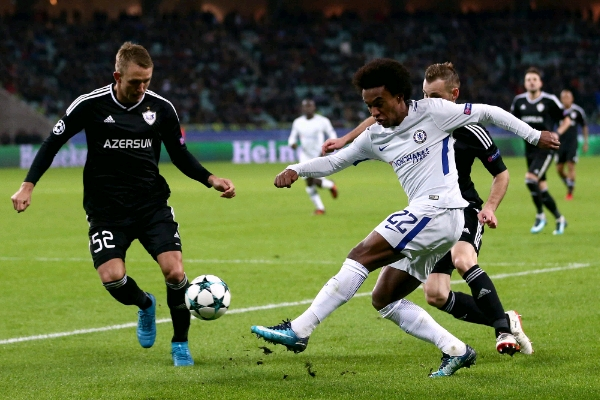 Champions League: Willian Stars As Chelsea Thrash Qarabag To Claim R16 Spot