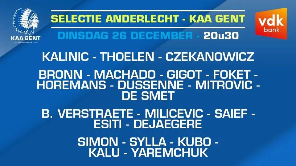 Simon, Esiti, Kalu Make Gent Squad For Boxing Day Clash Vs Anderlecht