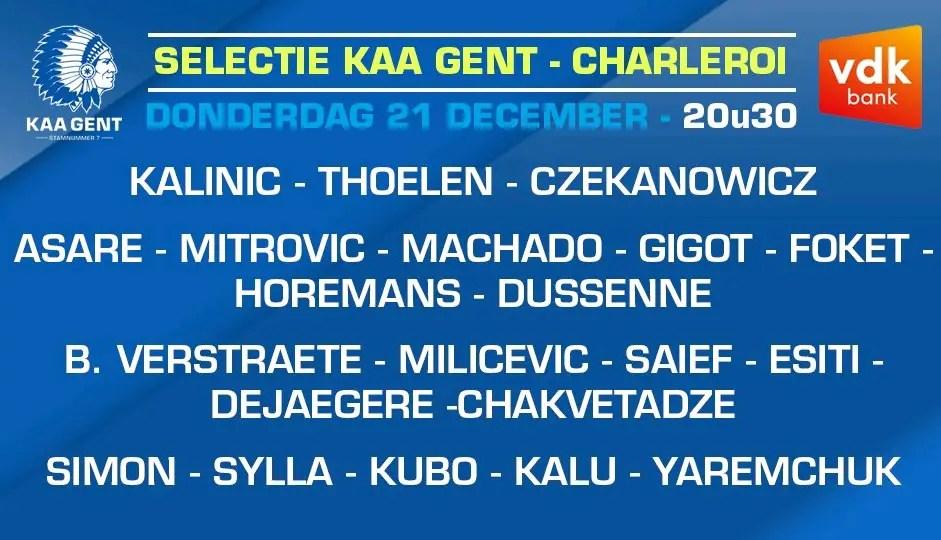 Simon, Esiti, Kalu Make Gent's Squad For Charleroi Clash