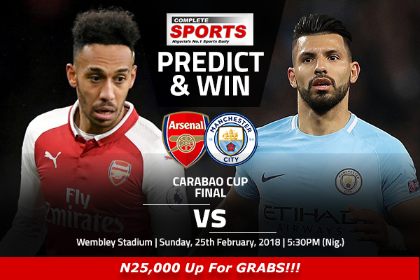 Arsenal vs Manchester City: Win N25000 In Complete Sports Predict And Win Competition
