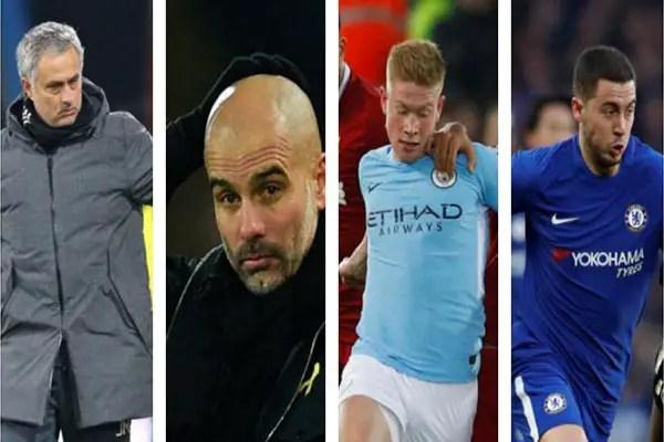 Guardiola, Mourinho, Hazard, De Bruyne Up For EPL January Manager, Player Awards
